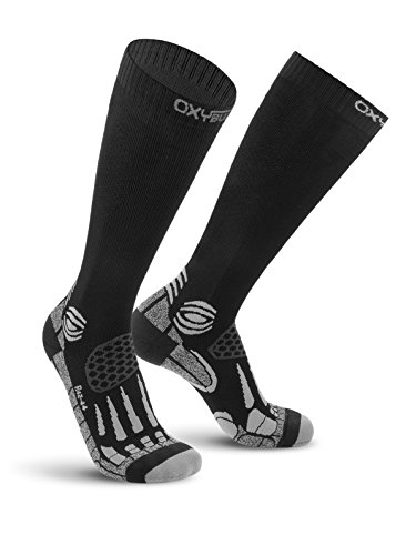 Oxyburn Running Knee-High Energr Dry-Tech L Chaussettes Homme, Black/Silver, Size 42/44