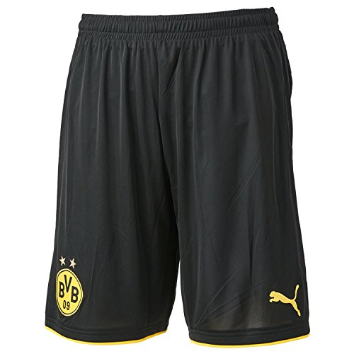 PUMA Herren Hose BVB Replica Shorts with Innerslip, schwarz-Black/Cyber Yellow, XL