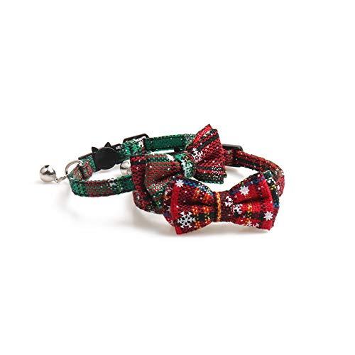 2Pcs 猫 首輪 クリスマス かわいい スノーフレーク サンタクロース リボン 蝶ネクタイ 軽い 調節可能 小型 ...
