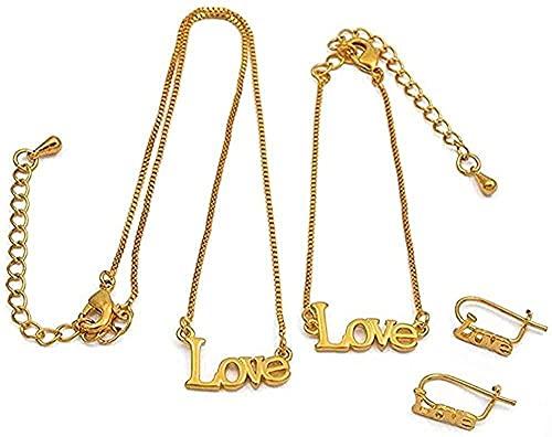 banbeitaotao Collar Collar Amor para bebé Collar de 30Cm / Pulseras de 13Cm Pendientes para niño pequeño Joyas de Color Dorado Collar de Regalos para niños pequeños
