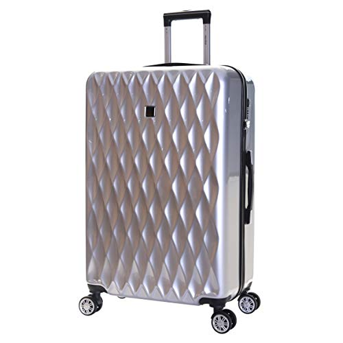 Karabar Hard Shell Extra Large Suitcase Luggage Bag XL 76 cm 4.2 kg 100 litres Polycarbonate PC with 4 Spinner Wheels and Integrated TSA Number Lock, Diamond Silver