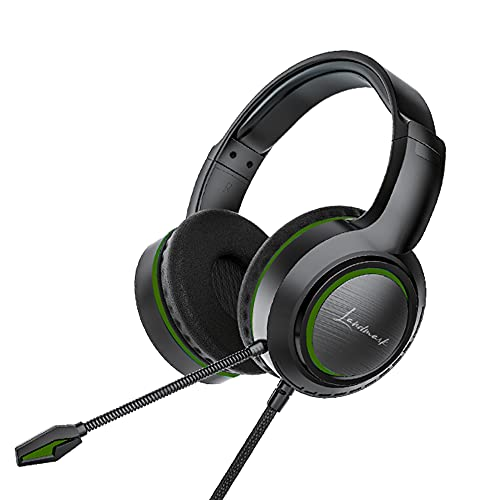 LANDMARK Flexible Wired Headset Gaming Headphone with Soft Ear Cushion, Mic, Passive Noise Cancellation & 55mm Drivers, Compatible with iPad, PC, Laptop, PS4, PSP, Xbox One Controller, Switch -Green