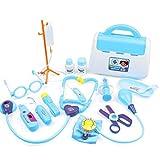 tJexePYK Botiquín de Primeros Auxilios para los niños de Primeros Auxilios Kit del Juguete Infantil Papel Pretend Carry Médica Kids Case Playsets Azul