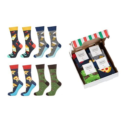 soxo Set de Calcetines de Colores para Hombres Regalo Empaquetado Pizza | talla 40-45 | Calcetines Divertidos con Dibujos | Regalo Sorprendente para Familiares y Amigos | Algodón