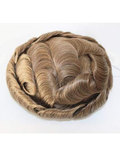 JKDKK perruques Thin Skin Toupee Men Real Human Hair Pieces Natural Hairline Virgin Hair Replacement System , 6X8,20# Wave