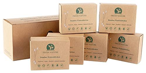 FRESH NATURE® (1200 Stück) Bambus Wattestäbchen - Plastikfrei - Vegan - Biologisch abbaubare Ohrenstäbchen