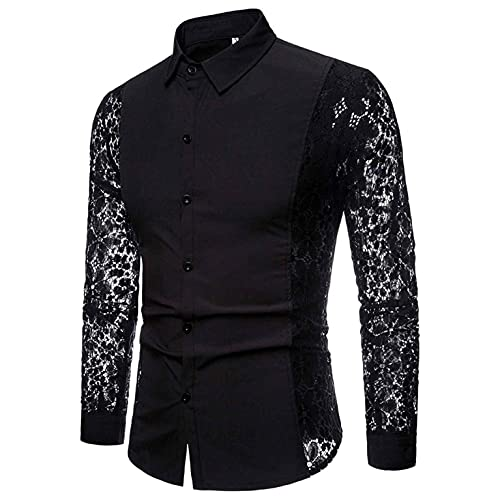 Mens Mesh Shirts Long Sleeve See Through Flower Button Down Tops Style Fishnet Hollow Lace Blouse