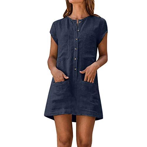 MAYOGO Damen Kleider Kleid Damen Sommer Baumwolle und Leinen Tshirt Kleider Kaftan Kleid Unifarben Kurzarm Tasche Sommerkleid Casual Jersey Blusen Kleider