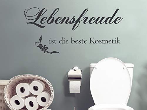 GRAZDesign Wandtattoo Badezimmer Spruch Lebensfreude ist die Beste Kosmetik / 104x50cm / 074 Mittelgrau