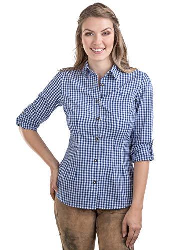 Schöneberger Trachten Couture Trachtenbluse Bergstern - Elegantes, Kariertes Damen Trachtenhemd - tailliert mit Krempelärmel div. Farben (42, Blau/Weiss)