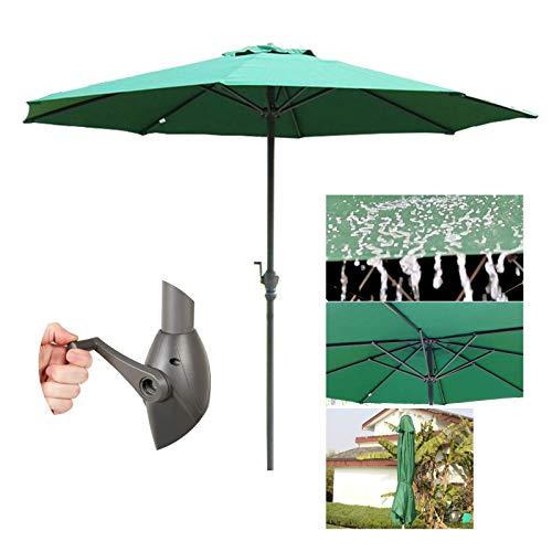 SHBV Sombrilla con protección Solar y oslash; 2.7mx245cm para jardín Comercial Exterior Playa manivela UV50 + toldo para sombrilla sombrilla de Poste de Hierro Grande Rojo Vino/Caqui Man