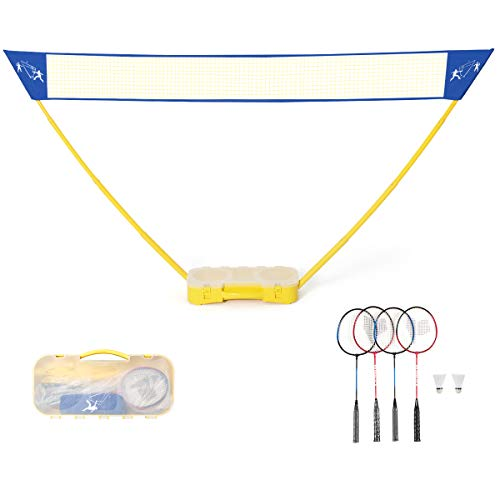 Goplus Portable Badminton Set Outdoor Folding Adjustable Badminton Net 10Ft w/Stand, Includes Badminton Net, 4 Rackets and 2 Shuttlecocks Carry Box (4 Player)