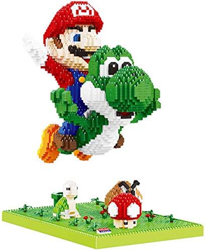 QSSQ Superhéroes Mario Fly Yoshi Bloques De Construcción Juguetes 3D Dinosaurio Modelo Modelo Modelo Dibujos Figura Nano Ladrillos, Mejor Regalo para Niña Adulto