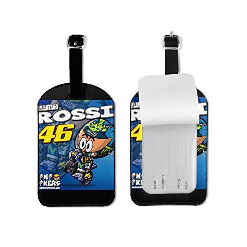 Valentino Rossi VR46 Gepäckanhänger aufgereiht Anhänger / Krawatte auf Gepäcketiketten Gepäckanhänger Karte Mikrofaser-PU-Leder 7cmx11cm