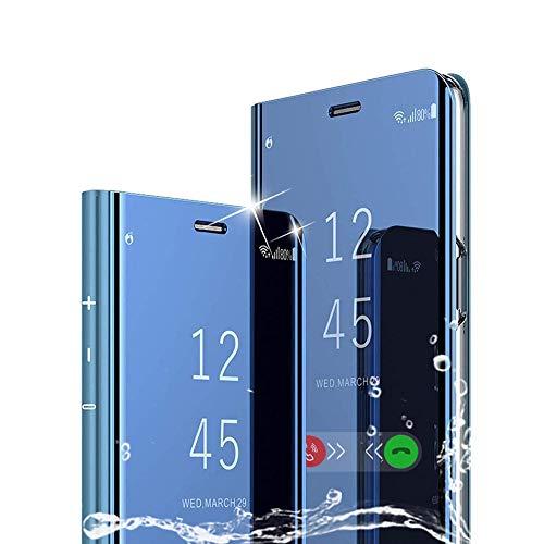 MAYO für Samsung Galaxy Note 10 Plus 2019 Hülle, Luxus Plating Smart Clear View Flip Schutzhülle mit Standfunktion Anti-Scratch Bookstyle Tasche Handyhülle für Samsung Galaxy Note 10 Plus 2019-Blau