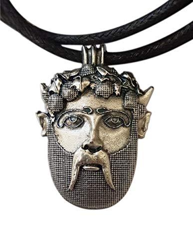 Dionysos Maske, Amulett Anhänger Versilbertes Metall mit Halskette. Bacchus, Gott des Weins. Symbol des Überflusses. Sommelier und Weinliebhaber geschenk. Handgefertigtes Juwel, Einzigartiges Modell
