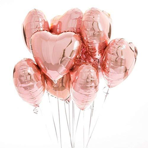 envami Herzluftballons Herzballons Folienluftballons 10 STK. - Ideal als Hochzeitsdeko, Geburtstagsdeko oder Partydekoration (Roségold)