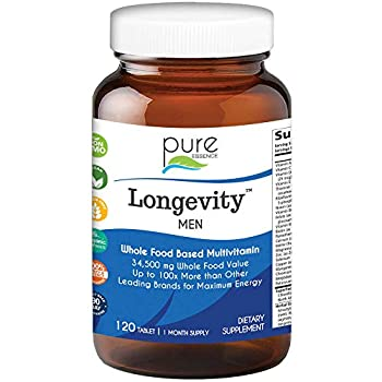 Longevity Multivitamin for Men Over 40 - Super Energetic with Superfoods Minerals Enzymes Vitamin D3 B12 Biotin - 120 Tablets