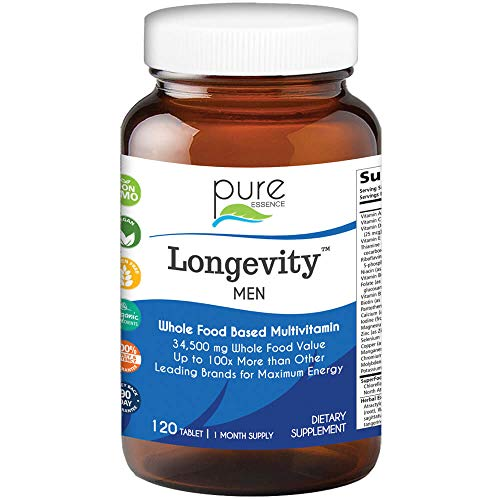 Longevity Multivitamin for Men Over 40 - Super Energetic with Superfoods, Minerals, Enzymes, Vitamin D3, B12, Biotin - 120 Tablets