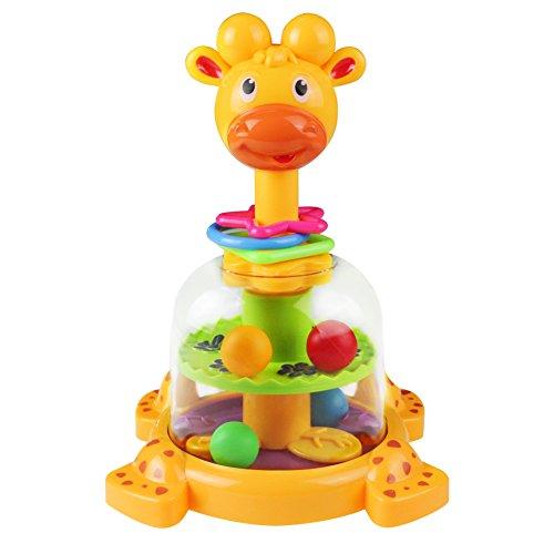 Toupie Girafe avec Boules Colorées Jouet D'eveil Prime Age Bebe Garcon Fille (Coleur Aléatoire)