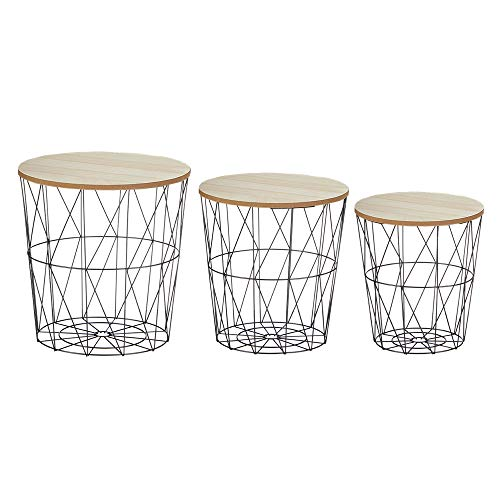 Cepewa 3er Set Beistelltisch modern Metall Korb mit Holzdeckel in 3 Größen S,M,L geflamt in Natur/schwarz Sofatisch Couchtisch Nachttisch
