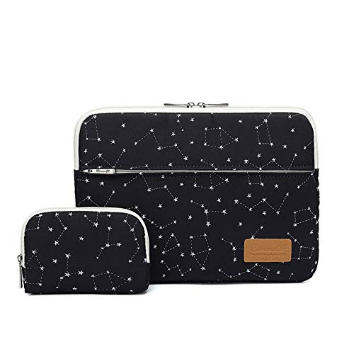 Canvaslife Black Star Pattern 360 Degree Protective 14 inch Waterproof Laptop Sleeve case Bag with Pocket for 14 inch 14.0 inch Laptop