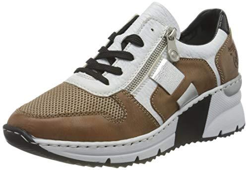 Rieker Damen N6312 Sneaker, beige Kombi, 38 EU
