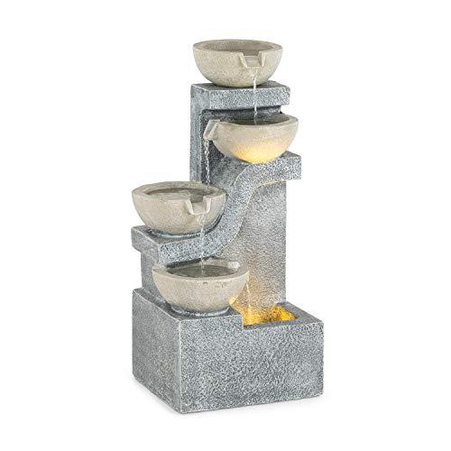 blumfeldt Delos - Brunnen, Gartenbrunnen, Zierbrunnen, Wasserspiel, Dekobrunnen, Luftbefeuchtung, LED-Beleuchtung: warmweiß, für drinnen und draußen geeignet, langes Kabel: 5 m, Material: Zement, grau