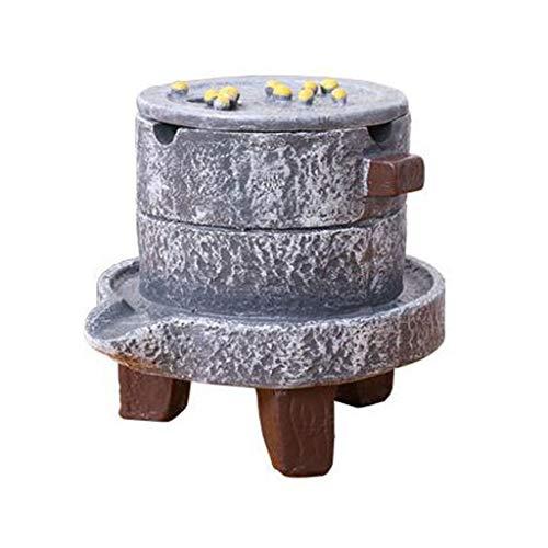 Interior Ceniceros Cigarrillos Cenicero, Cenicero Resina de mesa con tapa, bandeja de ceniza de interior al aire libre de escritorio for los regalos de la decoración del hogar Oficina 12x10x10.5 CM Ce