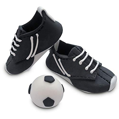 Bombasei Fondant / Zucker Fussball Schuhe + Ball schwarz / weiss, 107 g, V20608