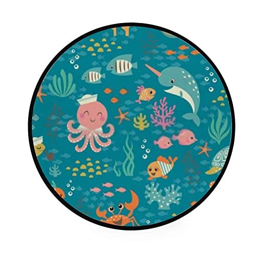 Alfombra redonda para gatear, lindos animales coloridos, alfombra de piso para sala de estar, lavandería, sala de juegos, 92 cm, lavable