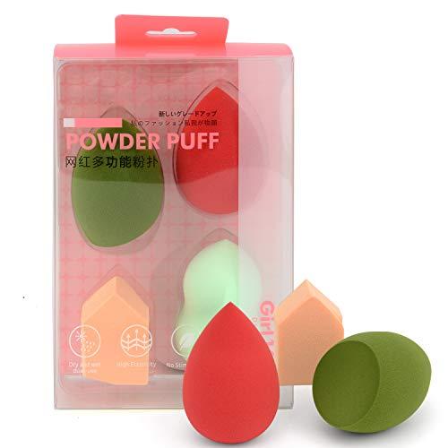 Latex Free Makeup Powder Blender Sponges for Full Face Curve Blending Coverage, Cream, Liquid Foundation Cosmetics, Disposable Beauty Foam Applicator Puffs for Sensitive Skin, Square