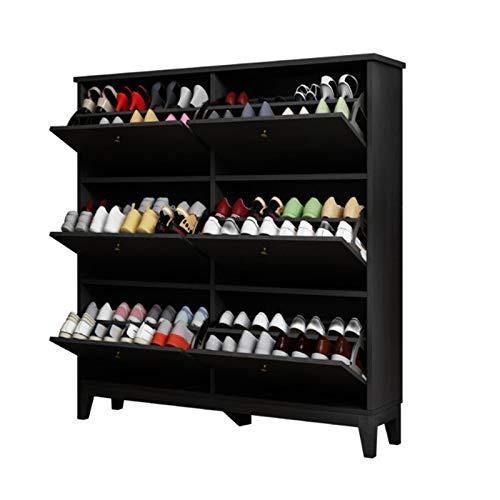 LiChaoWen Gabinete de Zapatos Puerta doméstica Simple Multi-Capa Cubo de inclinación Ultrafino. Armario Zapatero (Color : Marrón, Size : 124x26x120cm)