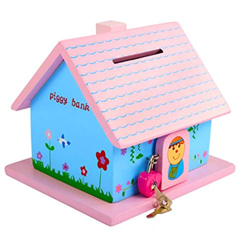 Spardosen, Kind Holz Sparschwein Mit Schloss Abschließbar For Junge Mädchen Geschenk Kleines Haus Depot Geld Sparen TINGTING (Color : Pink, Size : 15 * 16 * 14cm)