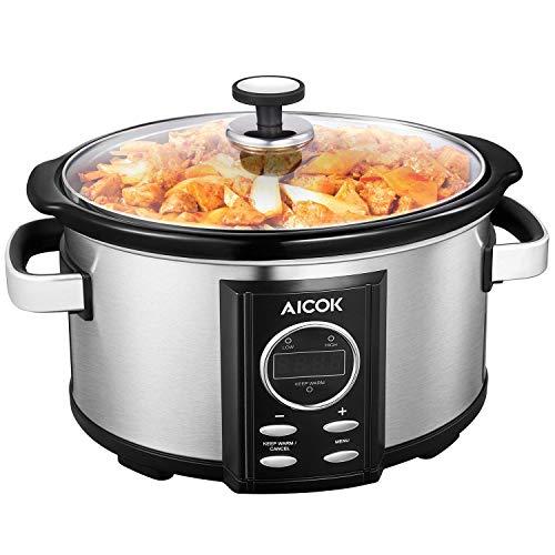 AICOK Olla de Cocción Lenta, 6.5l Slow Cooker Temporizador Digital y 3 Configuraciones de Temperatura, Olla Coccion Lenta Tapa de Vdrio y Olla de Cerámica, Plata, 315W (6.5 litros)