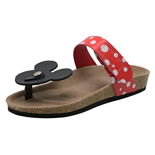 TAOFFEN Damen Pantoletten Zehentrenner Clip Toe Sommer Schuhe Thong Sandalen Rot Gr 39 Asian