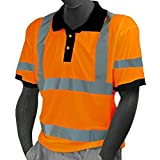 Majestic Glove 75-5312/L Polo T-Shirt, Double Stripe, High Visibility, Birdeye, Class 3, Large, Orange