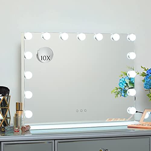 Dayu Hollywood Schminkspiegel mit 15 Beleuchtung LED Licht, 3 Farben dimmbarer Make-up Spiegel mit USB für Wandmontage Smart-Touch-Steuerung, 58 x 46 cm, weiß
