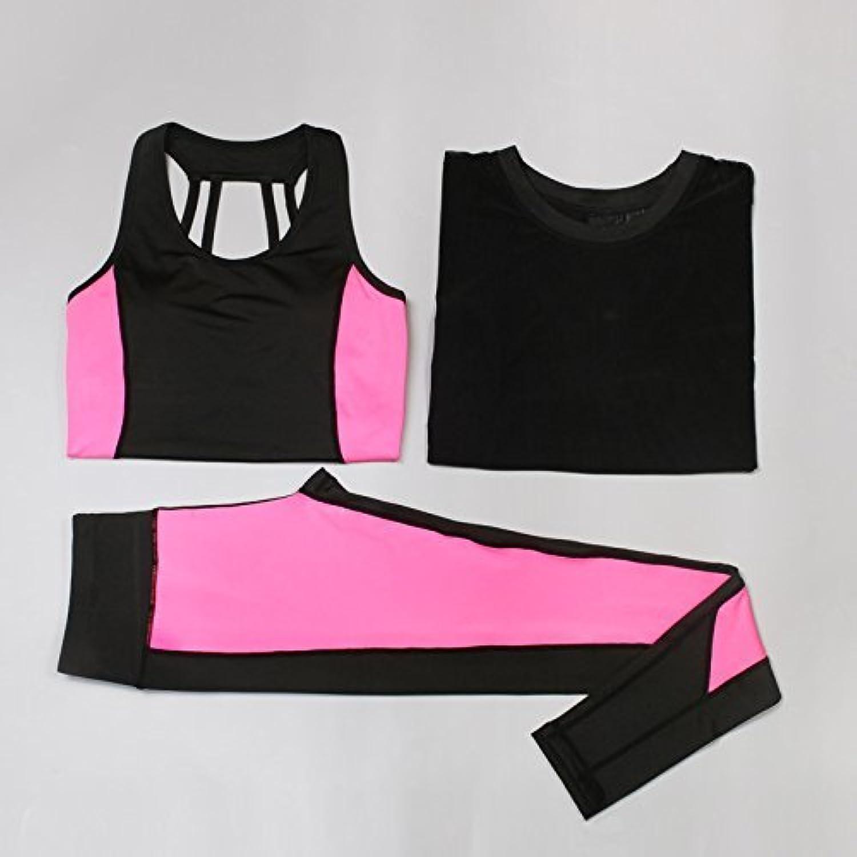 DACHUI Women Fitness Yoga 3it Waist Coat Set top + Trousers Leggings Set Gym Training Sports Clothes