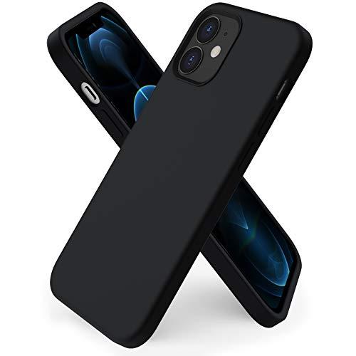 ORNARTO kompatibel mit iPhone 12 Mini 5,4 Silikon Hülle, Hülle Ultra Dünne Voller Schutz Flüssig Silikon Handyhülle Schutz für iPhone 12 Mini(2020) 5,4 Zoll Mitternachts Schwarz