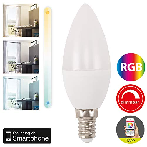 Briloner Leuchten – WiFi LED Bombilla RGB, regulable y temporizador Via App, Amazon Echo, Alexa y Google Home compatible, E14 4.5 W, 350 lúmenes, color de luz: Luz Blanca Cálida 2700 Kelvin