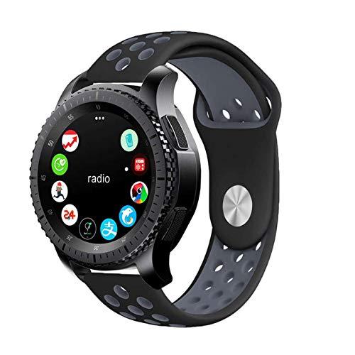Pulseira 22mm Sport compatível com Samsung Galaxy Watch 3 45mm - Galaxy Watch 46mm - Gear S3 Frontier - Amazfit GTR 47mm - Amazfit GTR 2 - Marca LTIMPORTS (Preto com Cinza)