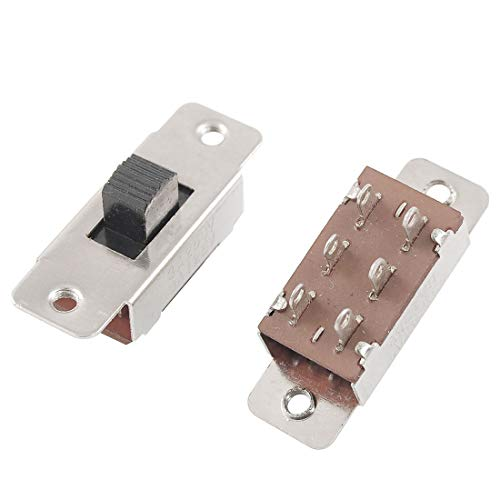 F-MINGNIAN-Tool, 5 Piezas de AC 125V / 6A 250V / 3A On/Off/On 3 Posición DPDT 2P2t Panel PCB Interruptor Deslizante (tamaño : 7 x 6 x 5mm)