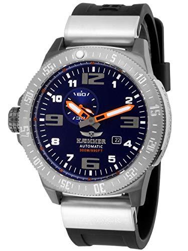 HÆMMER Navy Diver II   Dark Ocean   Herren Automatikuhr aus Edelstahl   Exklusiv Limitierte Taucher-Uhr mit FKM Kautschuk Armband   Wasserdicht bis 300m   Kratzfestes Saphirglas