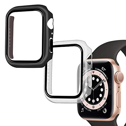 Qoosea Funda Compatible con Apple Watch Series 6/SE/5/4 40mm Protector de Pantalla, [2 Pack] Carcasa PC Cristal Vidrio Templado Película para iWatch 40mm - Transparente+Negro