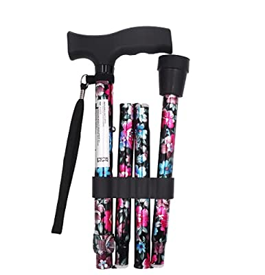 Pepe - Folding Cane, Folding Walking Cane, Folding Canes for Women, Flower Cane, Folding Walking Canes, Cane for Women with Floral Pattern, Designer Walking Cane, Height Adjustable, Foldable. by IMD SL