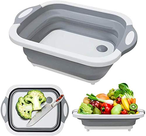 3 in 1 Foldable Cutting Boards for Kitchen, Collapsible Dish Tub & Cutting Board with Draining Plug, Vegetable Fruit Wash and Drain Sink Storage Basket, for Kitchen Camping BBQ