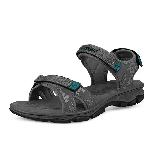 GRITION Damen outdoor Sport Sandalen Wandersandalen Trekking Walking sneaker Wandern Strand sportlicher Spazierengehen Bequemer Sommerschuhe,Farbe:Grau,Size 41