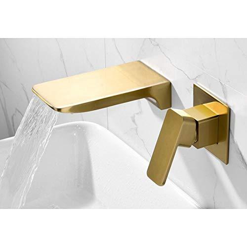 Montado en la pared Cascada de latón dorado cepillado GRIFO DE LAVABO Grifo para lavabo de pared negro Baño Grifos monomando de agua fría y caliente ocultos