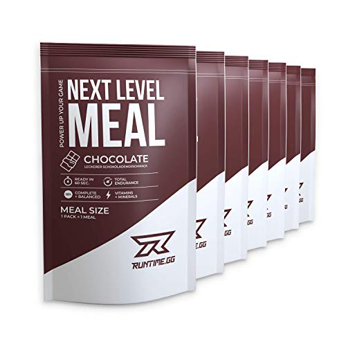 Runtime Meal Chocolate - vollwertiger Mahlzeitersatz für langanhaltende Sättigung, Energie, Konzentration und Leistungsfähigkeit, mit Vitaminen und Nährstoffen, 7 x 150g
